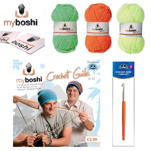 Neon - Make Your Own Crochet Myboshi Beanies Hat Kit (Colours 185 184 181)